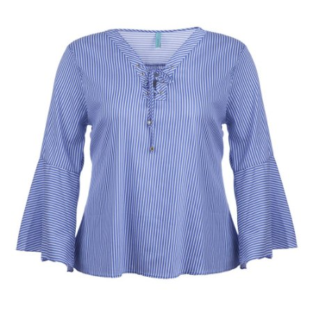 Blusa Plus Size Tricoline Listrada Babado