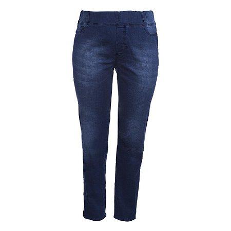 Calça Plus Size Jeans Índigo Elástico