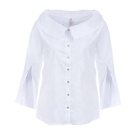 Camisa Plus Size Manga Sino Branca