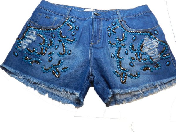 Shorts Plus Size Jeans Bordado Azul