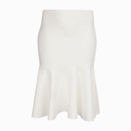 Saia Midi Plus Size Babado Off-White