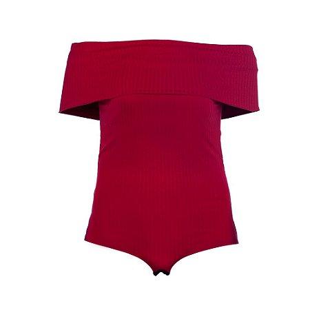 Body Plus Size Ombro a Ombro Vermelho