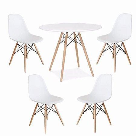 Kit Mesa Eiffel 80 cm + 4 Cadeiras Eiffel Brancas