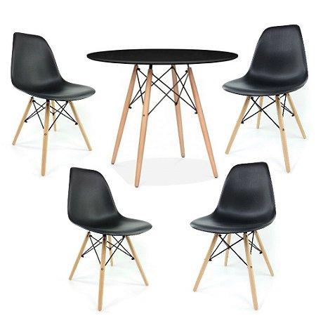 Kit Mesa Eiffel 80 cm Tampo Preto + 4 Cadeiras Eiffel Pretas