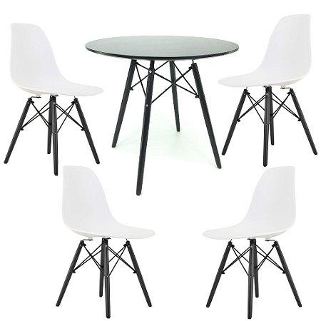 Kit Mesa Eiffel 80 cm Preta + 4 Cadeiras Eiffel Brancas com Base Preta