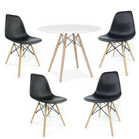 Kit Mesa Eiffel 80 cm Branco + 4 Cadeiras Eiffel Pretas