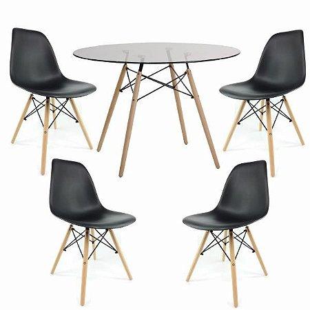 Conjunto Mesa de Vidro 120 cm + 4 Cadeiras Eiffel Pretas