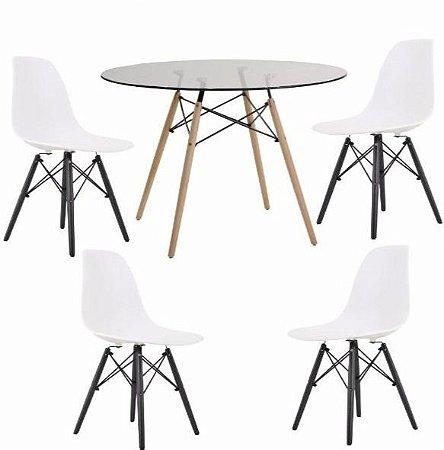 Conjunto Mesa de Vidro 120 cm + 4 Cadeiras Eiffel Brancas com Base Preta