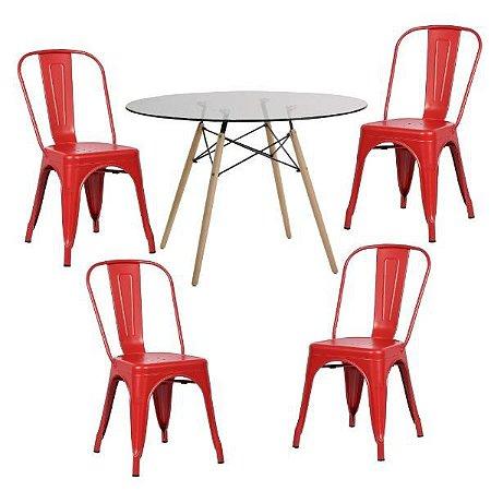 Conjunto Mesa de Vidro 120 cm + 4 Cadeiras Phoenix Vermelho