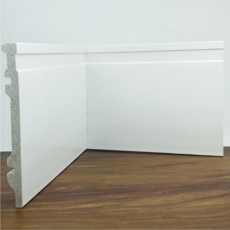 Rodapé de Poliestireno Frisado Branco 15 cm