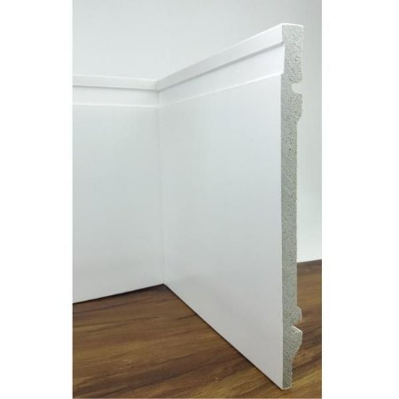 Rodapé de Poliestireno Frisado Branco 20 cm