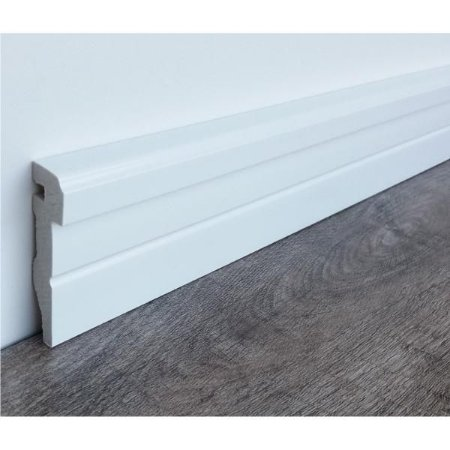 Rodapé de Poliestireno Frisado Branco Modelo Design 7,5 cm