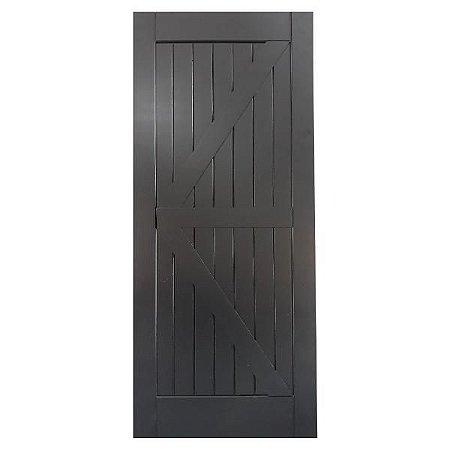 Porta De Madeira De Correr Tipo Celeiro Modelo K 91cmx2,13m Black
