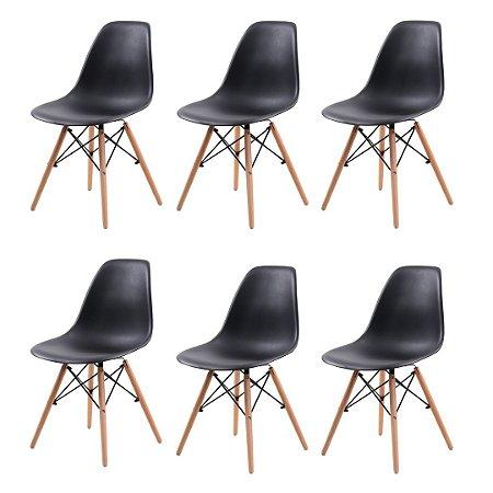 Jogo De Cadeira Eiffel 6 Cadeiras Pretas