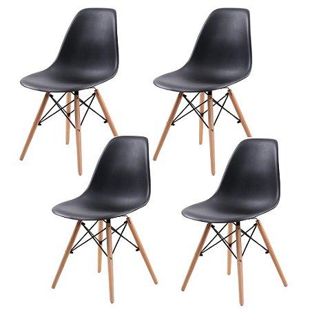 Jogo De Cadeira Eiffel 4 Cadeiras Pretas