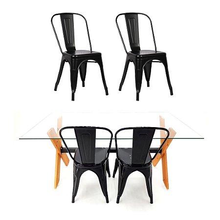 Conjunto Mesa Dakota e 4 Cadeiras Phoenix Pretas