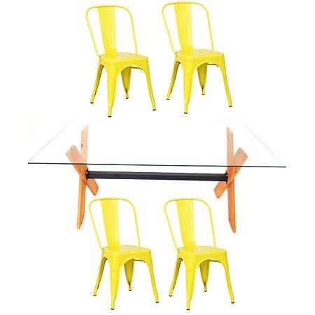 Conjunto Mesa Dakota e 4 Cadeiras Phoenix Amarelas