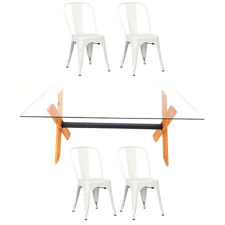 Conjunto Mesa Dakota e 4 Cadeiras Phoenix Brancas