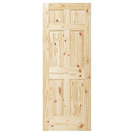Porta De Madeira Sólida Rústica 6 Nós 70x210 Cm