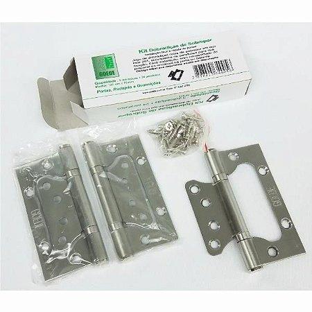 Dobradiça De Porta Tipo Sobrepor 4 X 3 Pol. Kit Com 3 Peças