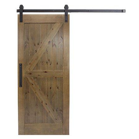 Porta De Madeira De Correr Celeiro K Goede Verniz Nogueira 110x220 Cm