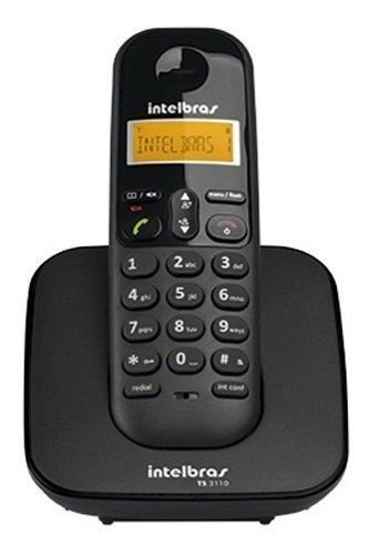 Telefone s/ fio Dect 6.0 c/ identificador de chamadas preto TS3110 Intelbras CX 1 UN