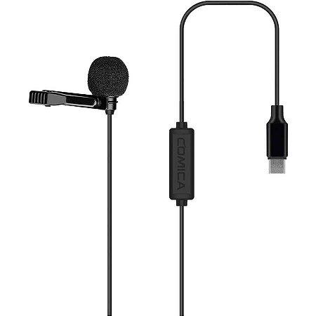 Microfone Lavalier CVM-V01SP Comica Audio Omnidirecional USB Tipo-C Para Dispositivos Android