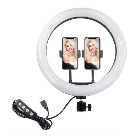 Iluminador Ring Light Greika CL-12 com 2 Suportes para Smartphone