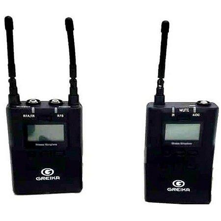Sistema de Microfone de Lapela Sem Fio Greika UMic8