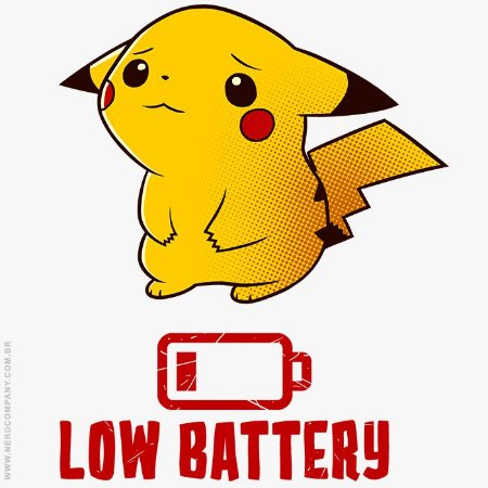 Camiseta Pikachu Low Battery - Masculina