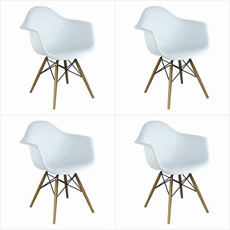 Conjunto 04 Cadeiras Eames com Braço Base de Madeira - Branco - Bulk