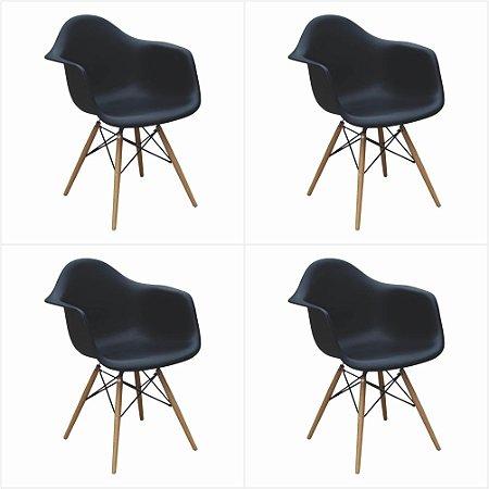 Conjunto 04 Cadeiras Eames com Braço Base de Madeira - Preto - Bulk