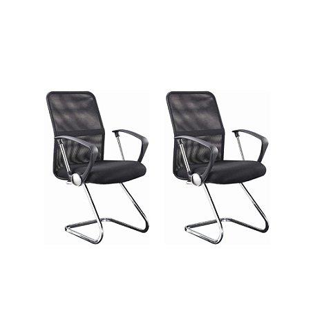Conjunto 2 Cadeiras para Escritório Visitante - Preto - Bulk