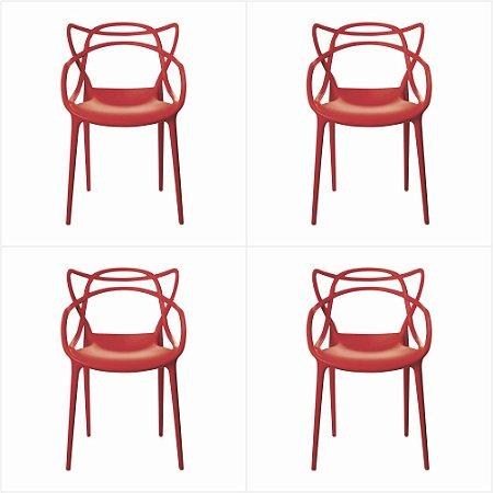Conjunto 04 Cadeiras Urbana de Polipropileno - Vermelho -Bulk