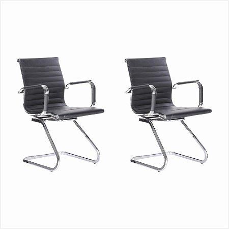 Conjunto 02 Cadeiras Visitante Office - Preto - Bulk