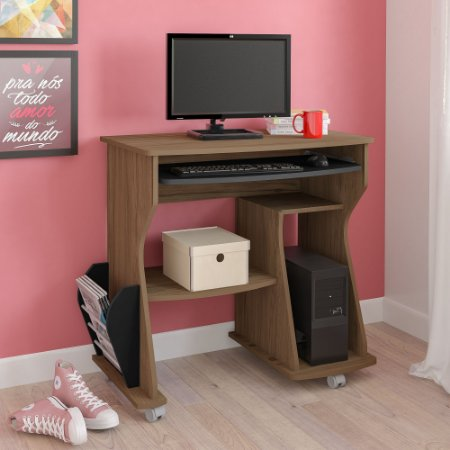 Mesa para Computador 160 Artely Amêndoa/Preto