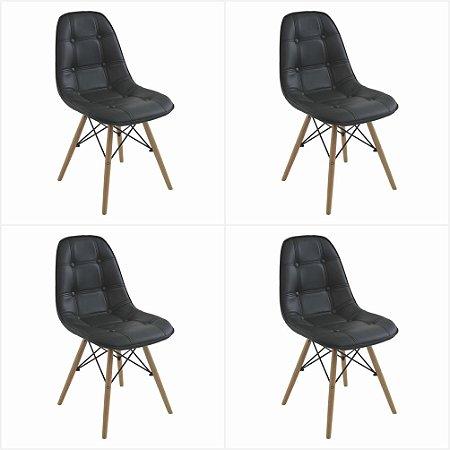 Conjunto 4 Cadeiras Eames Botonê Estofada - Preto - Bulk