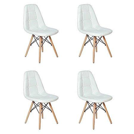 Conjunto 4 Cadeiras Eames Botonê Estofada - Branco - Bulk