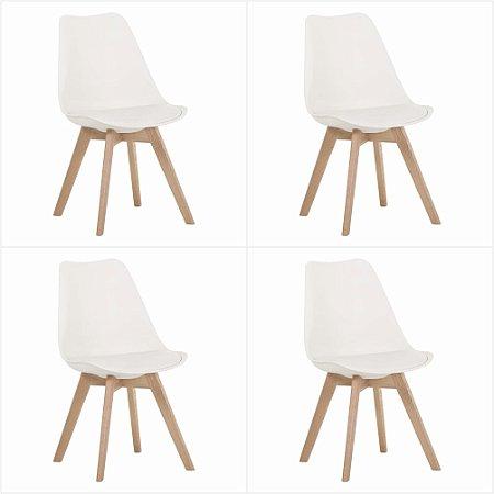 Conjunto 04 Cadeiras Tulipa sem Braço Base Madeira - Branco - Bulk