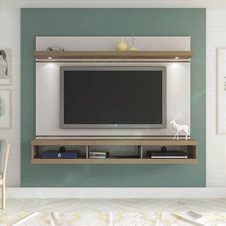 Painel Artely Evolution para TV até 60 com Prateleira e Luminárias LED Artely Off White C/Pinho