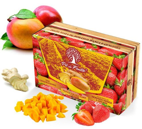 PÉ DE FRUTA - Polpa de morango, manga e gengibre (400g)