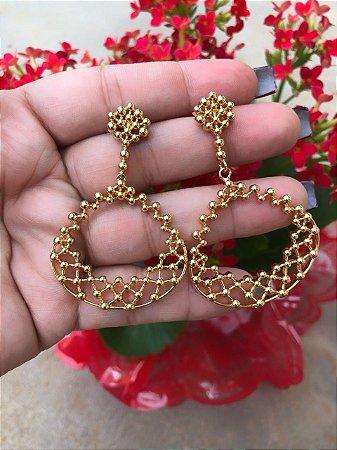 Brinco dourado, banhado a ouro 18k - com garantia