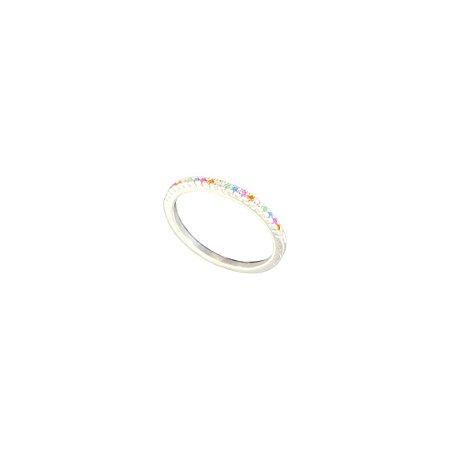 Meia Aliança Rainbow Prata 925