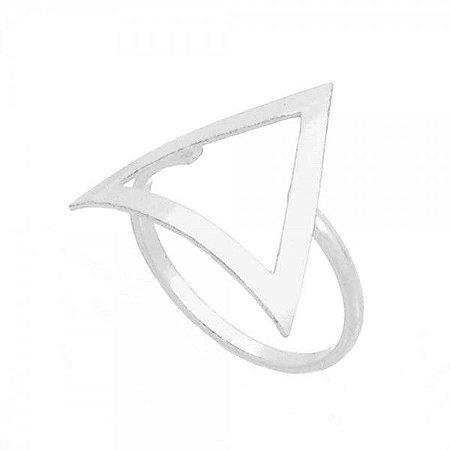 Anel Triângulo Côncavo Prata 925