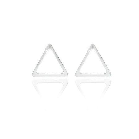 Brinco Triângulo Vazado G Prata 925