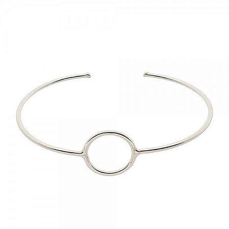 Pulseira Bracelete Círculo Vazado Prata 925