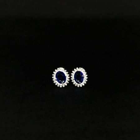 Brinco Oval LightBlue Prata 925