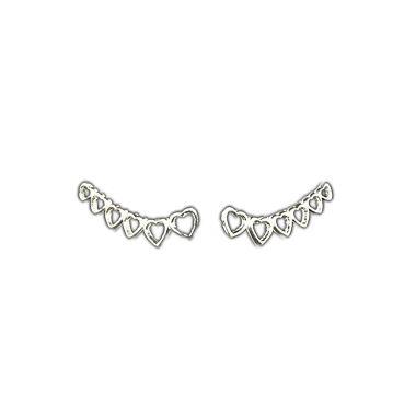 Ear Cuff Corações Vazado Prata 925