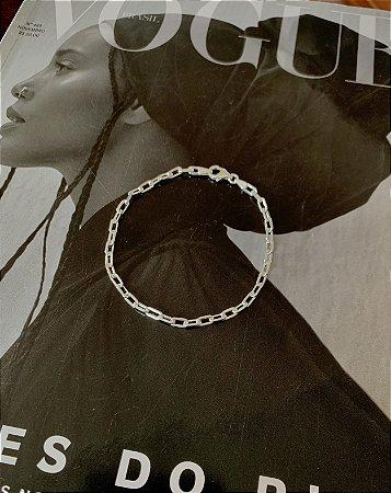Pulseira Estilo Cartier 4mm Prata 925