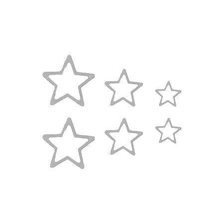 Trio de Estrelas Vazado Prata 925